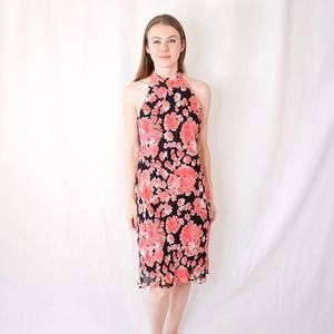 EVAN PICONE Vintage Floral Print Midi Dress Pink